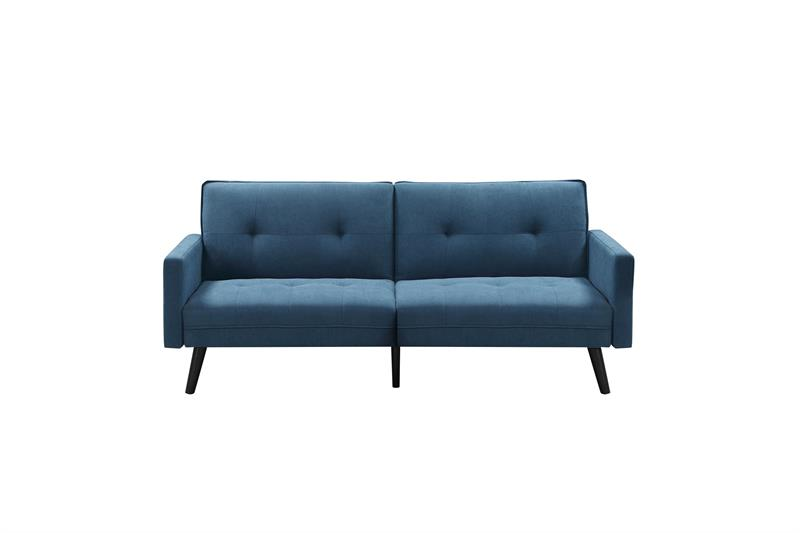 CORNER rozkladacia pohovka s taburetom, modrá