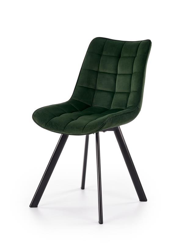 K332 jedálenská stolička, nohy - čierne, sedák - tmavo zelená