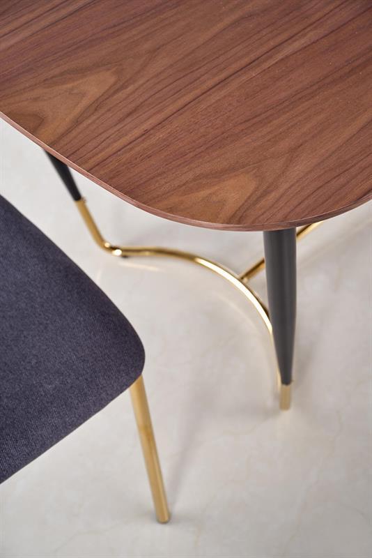 MANCHESTER stôl, doska - orech, nohy - čierna / zlatá