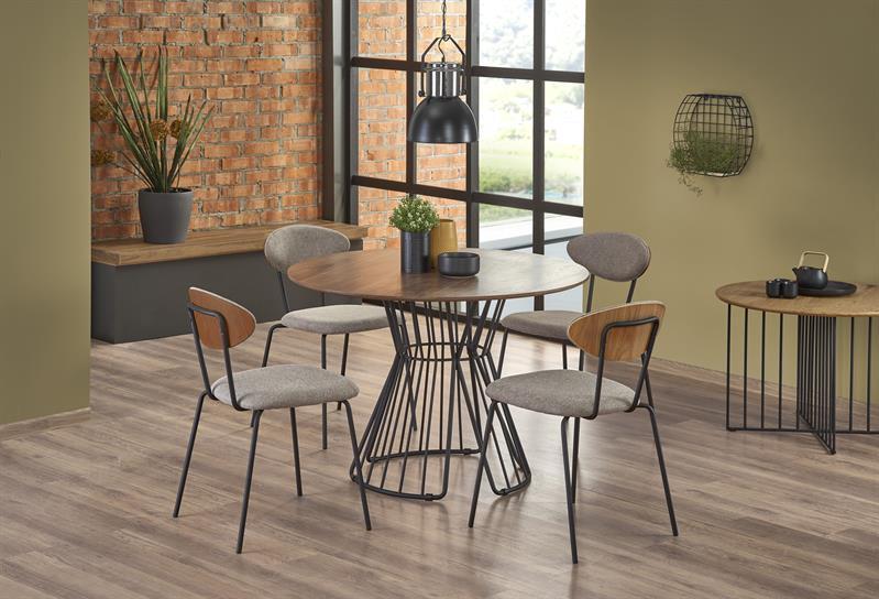 BRISTOL stôl, doska - orech, nohy - čierna