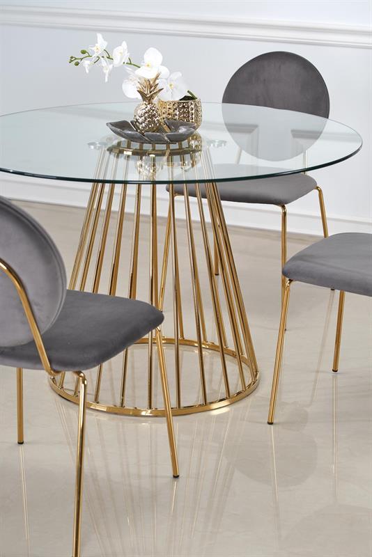 LIVERPOOL stôl, doska - transparentná, nohy - zlatá