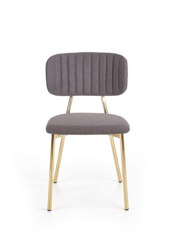 K362 stolička, čalúnenie -  tmavo šedá, nohy - zlatá