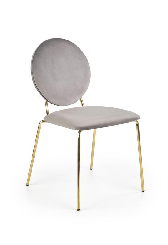 K363 stolička, čalúnenie -  šedá, nohy - zlatá