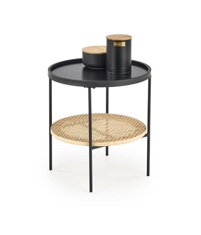 KAMPA konferenčný stôl čierna / rattan prírodná