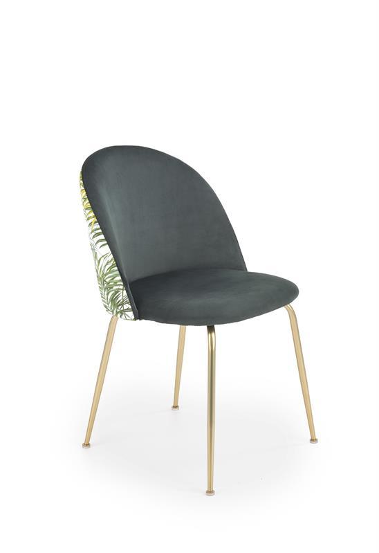 K372 jedálenská stolička tmavo zelená / zlatá