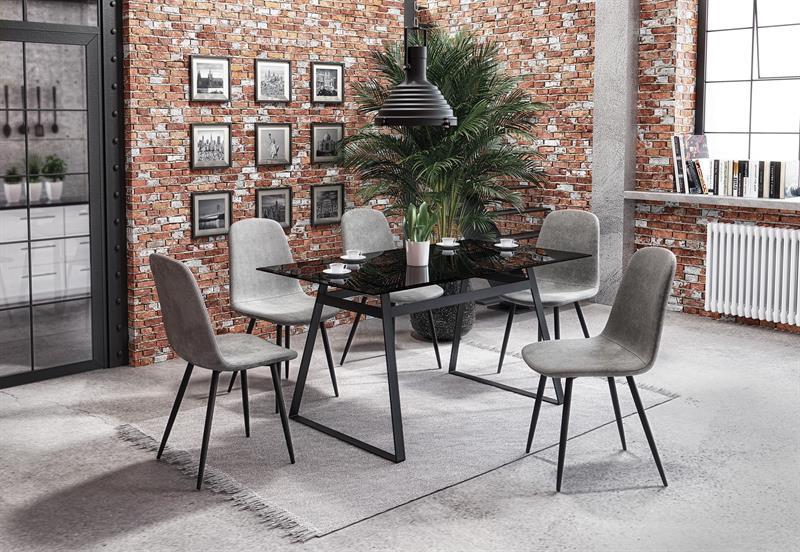 HERALD stôl, doska - dymová, konštrukcia - čierna