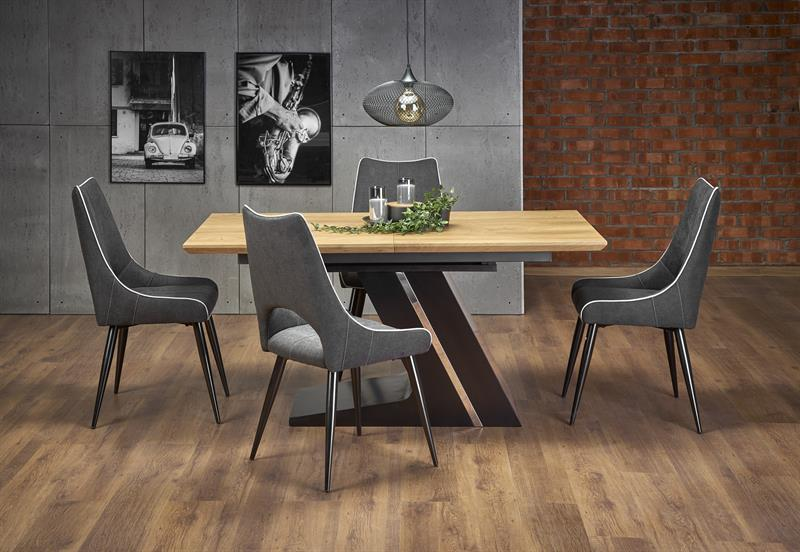 FERGUSON rozkladací stôl doska - prírodná, nohy - čierna