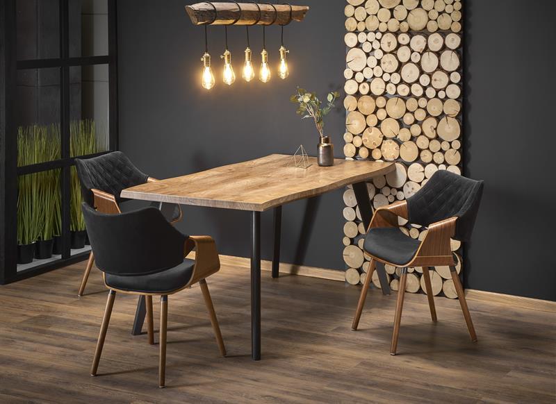 DICKSON rozkladací stôl, doska - prírodná, nohy - čierna