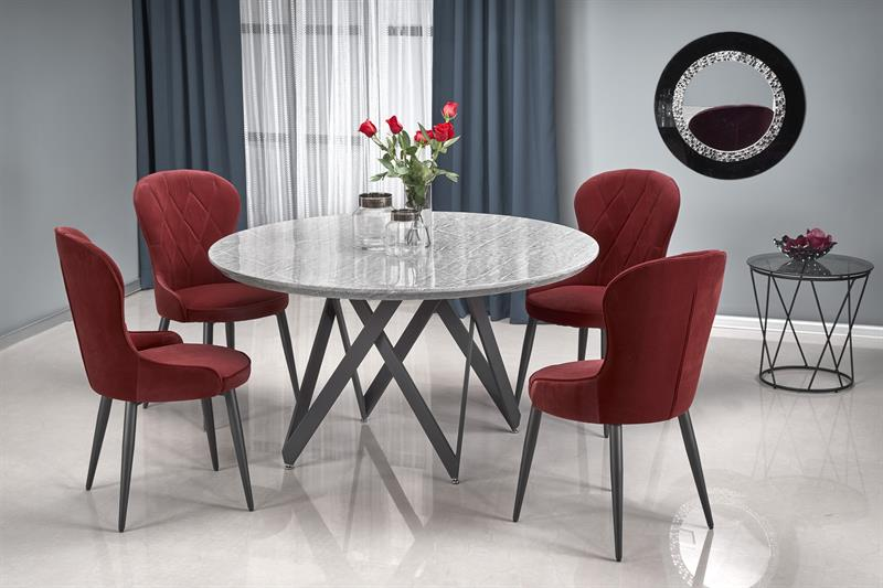 GUSTIMO okrúhly stôl, doska - šedá mramor, konštrukcia - čierna