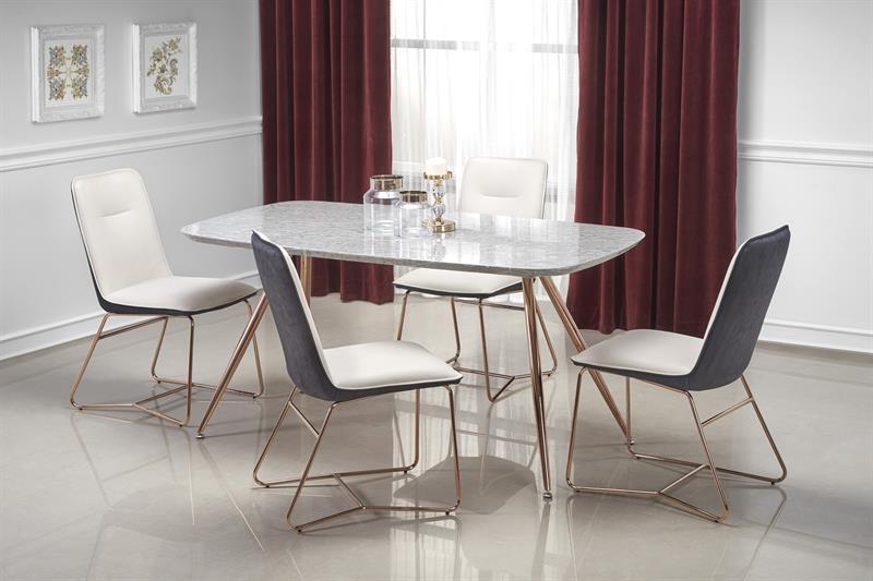BARCANO stôl, doska - šedá mramor, konštrukcia - zlatá