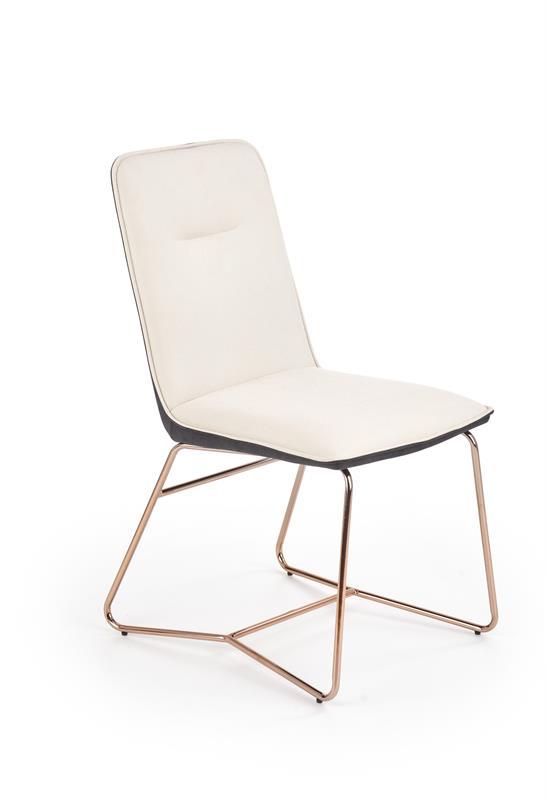 K390 jedálenská stolička krémová / tmavo šedá / zlatá