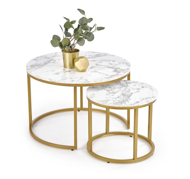 PAOLA zostava dvoch konferenčných stolíkov, mramor / zlatá