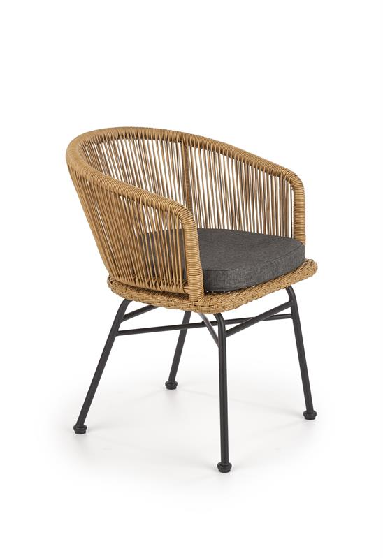 K400 jedálenská stolička čierna / prírodná / šedá