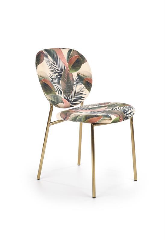 K398 jedálenská stolička, čalúnenie - viacfarebná, konštrukcia - zlatá - NA SKLADE!