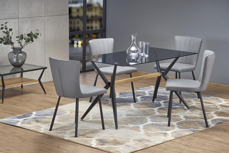 FINLEY stôl, doska - dymová, nohy - čierna