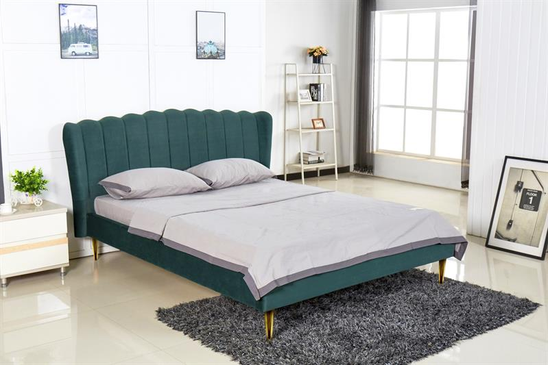 VALVERDE posteľ tmavo zelená / zlatá
