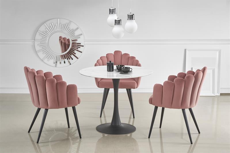 AMBROSIO okrúhly stôl, doska - mramor, noha - čierna - NA SKLADE!