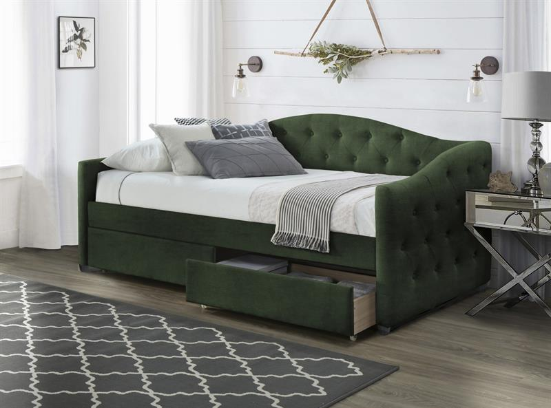 ALOHA posteľ so zásuvkami tmavo zelená velvet - NA SKLADE!