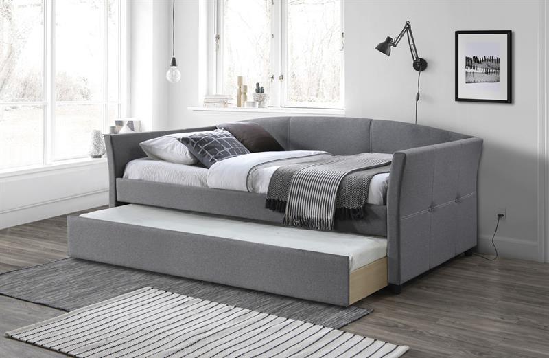 SANNA dvojlôžková postel s výsuvným spodným matracom šedá