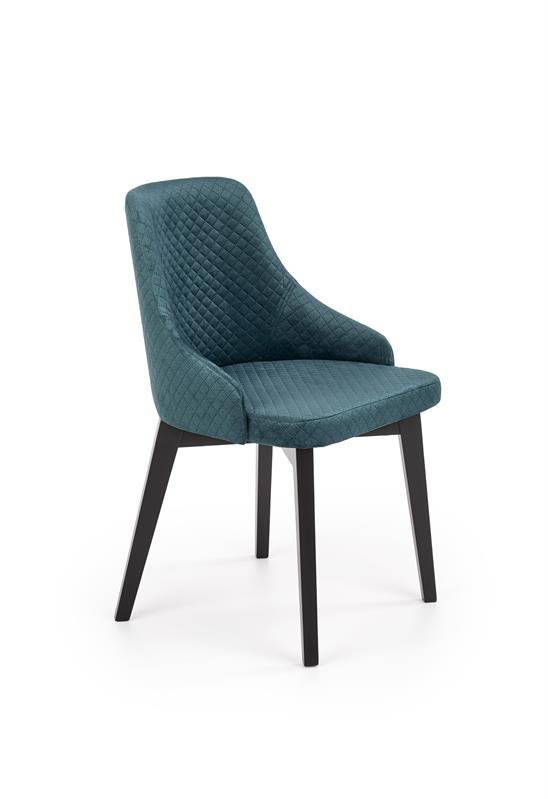 TOLEDO 3 stolička čierna / čal. velvet prešívaný Karo 4 - MONOLITH 37 (tmavo zelená)