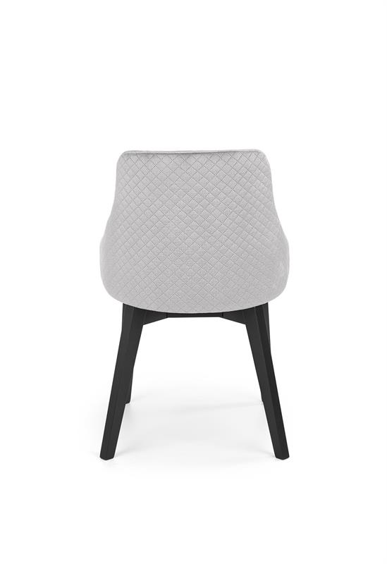 TOLEDO 3 stolička čierna / čal. velvet prešívaný Karo 4 - MONOLITH 85 (svetlo šedá)