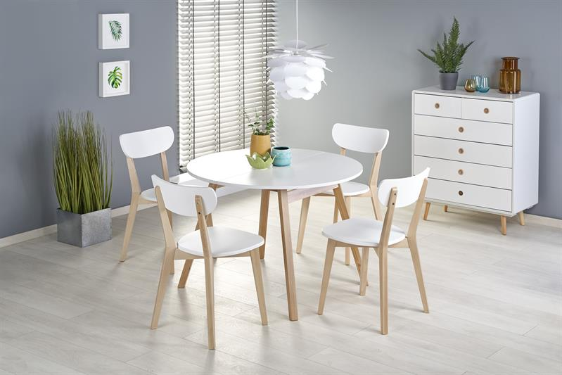 RUBEN stôl kolor doska - biely, nohy - dub medový (102-142x102x75 cm)