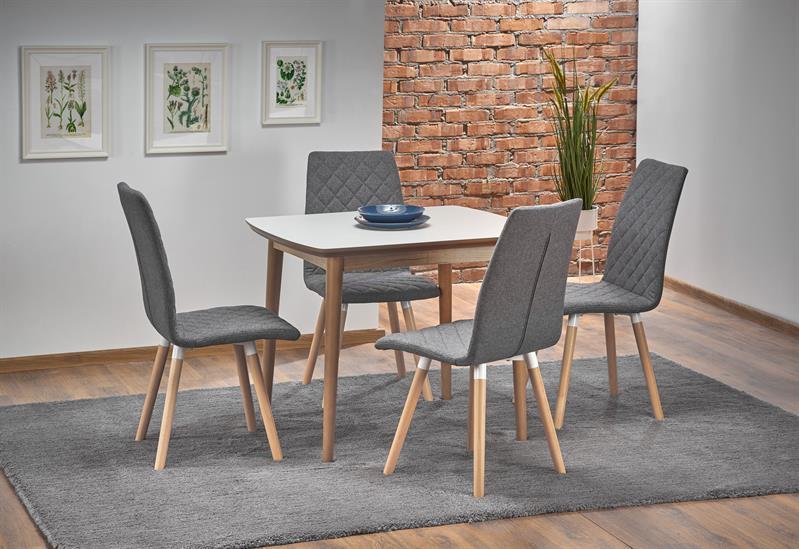 BARRET stôl farba doska - biela matná, nohy - dub lefkas (90-190x80x75 cm)