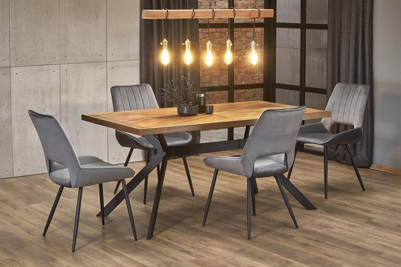 TYSON stôl, doska - orech, nohy - čierna