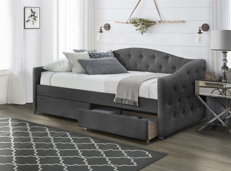 ALOHA posteľ so zásuvkami šedá velvet