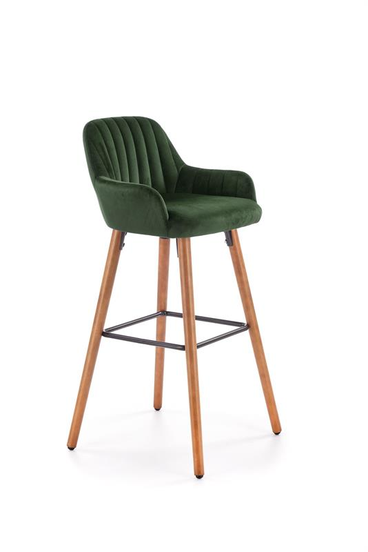 H93 barová stolička nohy - orech, čalúnenie - tm. zelená