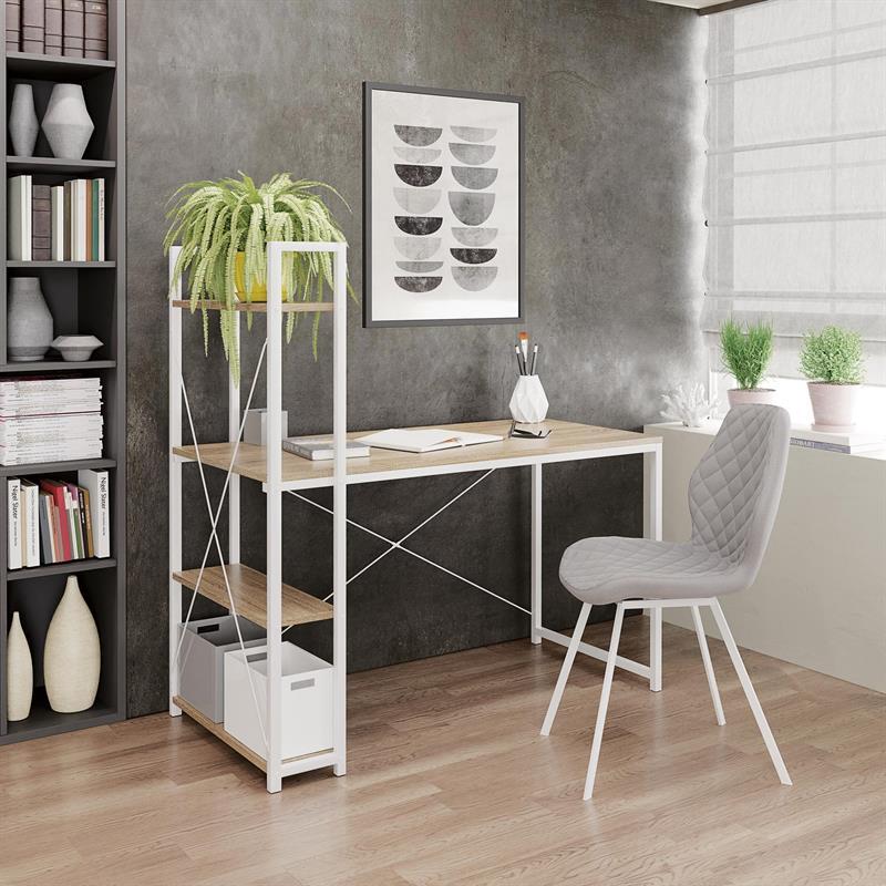 NARVIK B1 PC stôl biely/ dub sonoma