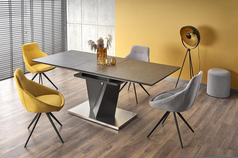 SALVADOR rozkladací stôl doska - tmavo šedá, nohy - tmavo šedé
