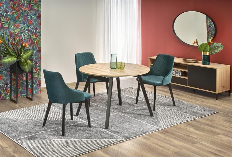 RUBEN stôl doska - dub artisan, nohy - čierne (102-142x102x75 cm)