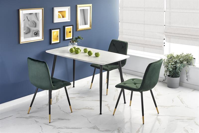 MARCO stôl biely mramor / čierny
