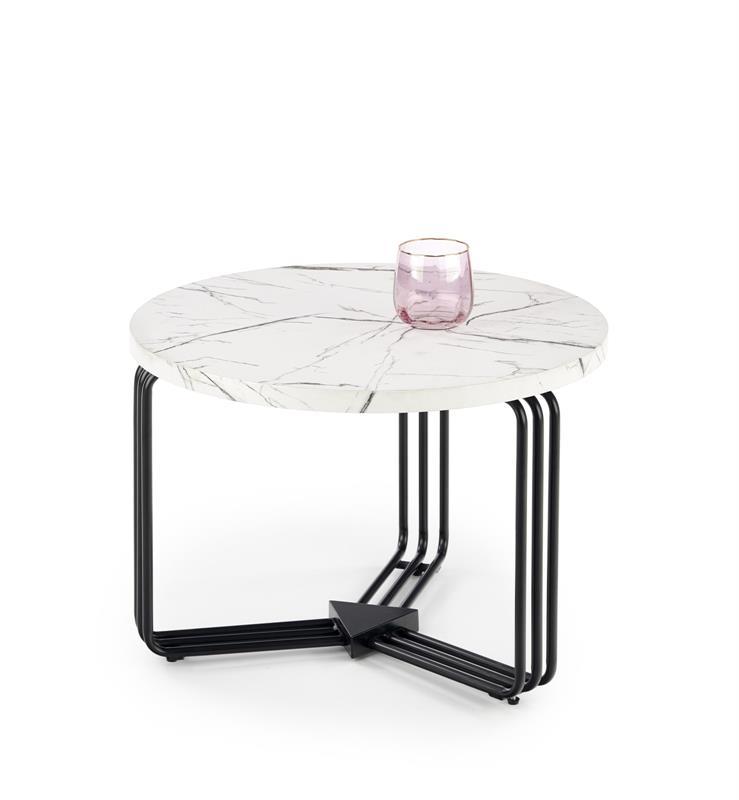 ANTICA M konferenčný stolík doska - biely mramor, konštrukcia - čierna