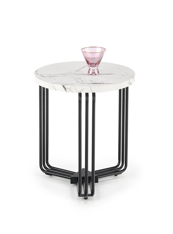 ANTICA S konferenčný stolík doska - biely mramor, konštrukcia - čierna