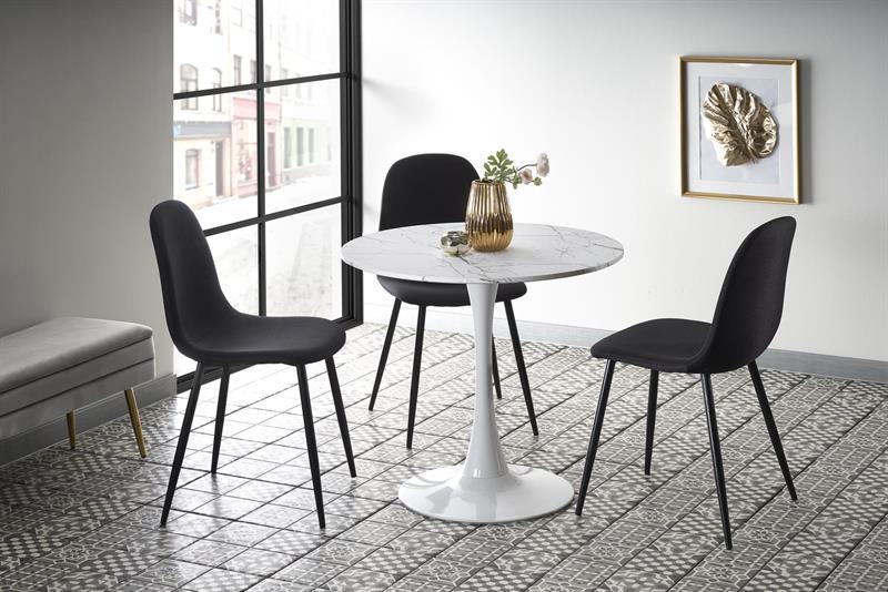 DENVER stôl, doska - biely mramor, nohy - biele