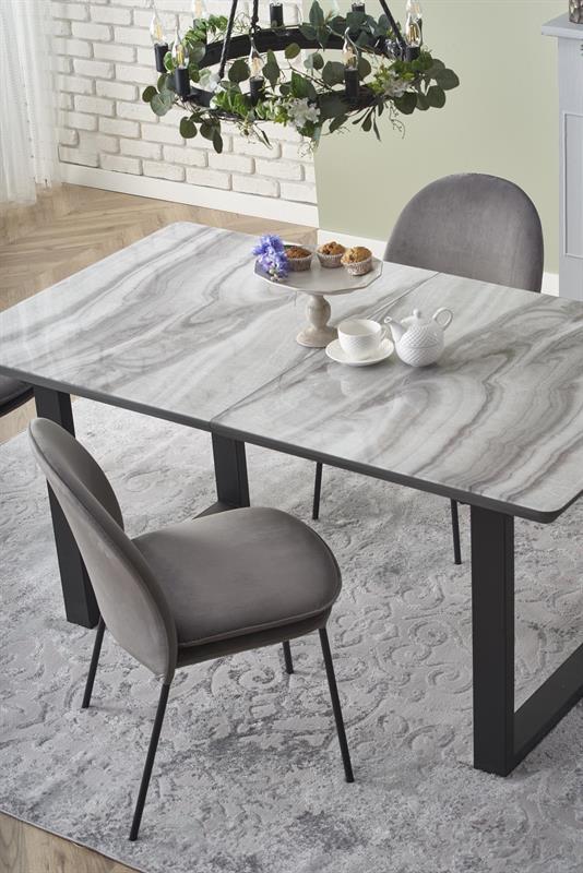 MARLEY rozkladací stôl doska - biely mramor /  šedá, nohy - čierne