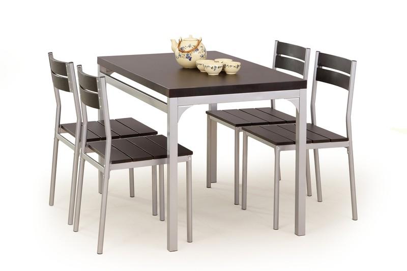 MALCOLM zostava stôl + 4 stoličky wenge