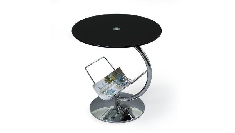 ALMA konferenčný stolík chróm, sklo čierne