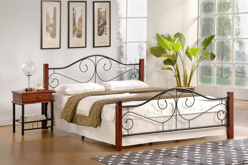 VIOLETTA 160 cm postel čerešňa ant./čierna  s roštom