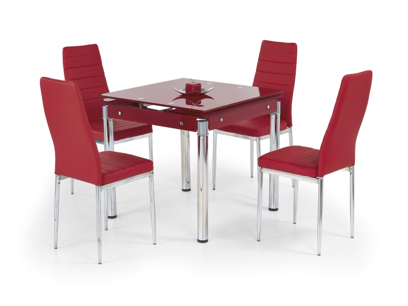 KENT stôl rozkladací červený, pochrómovaná ocel