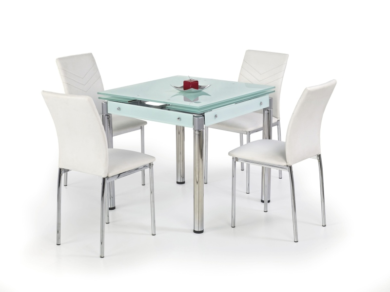 KENT stôl rozkladací mliečny, pochrómovaná ocel