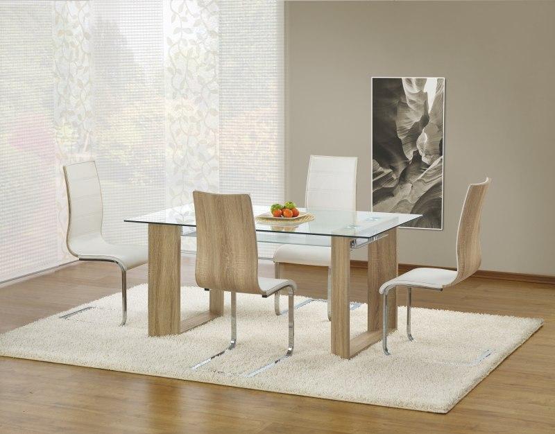 HERBERT stôl bezfarebný/dub sonoma