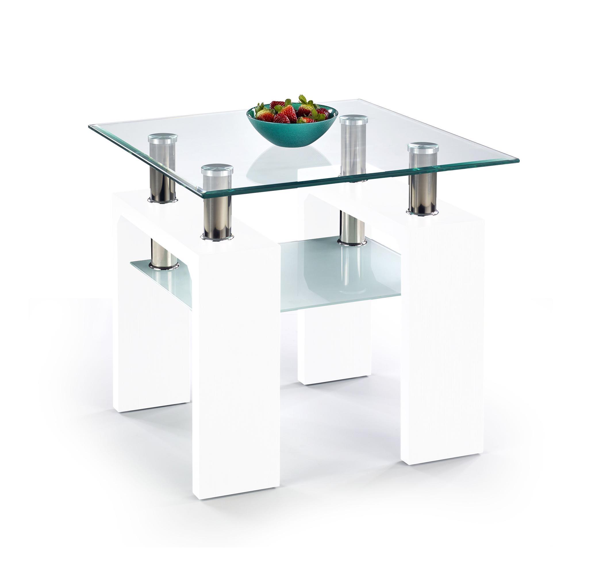 DIANA H štvorcový konferenčný stolík biely lakovaný