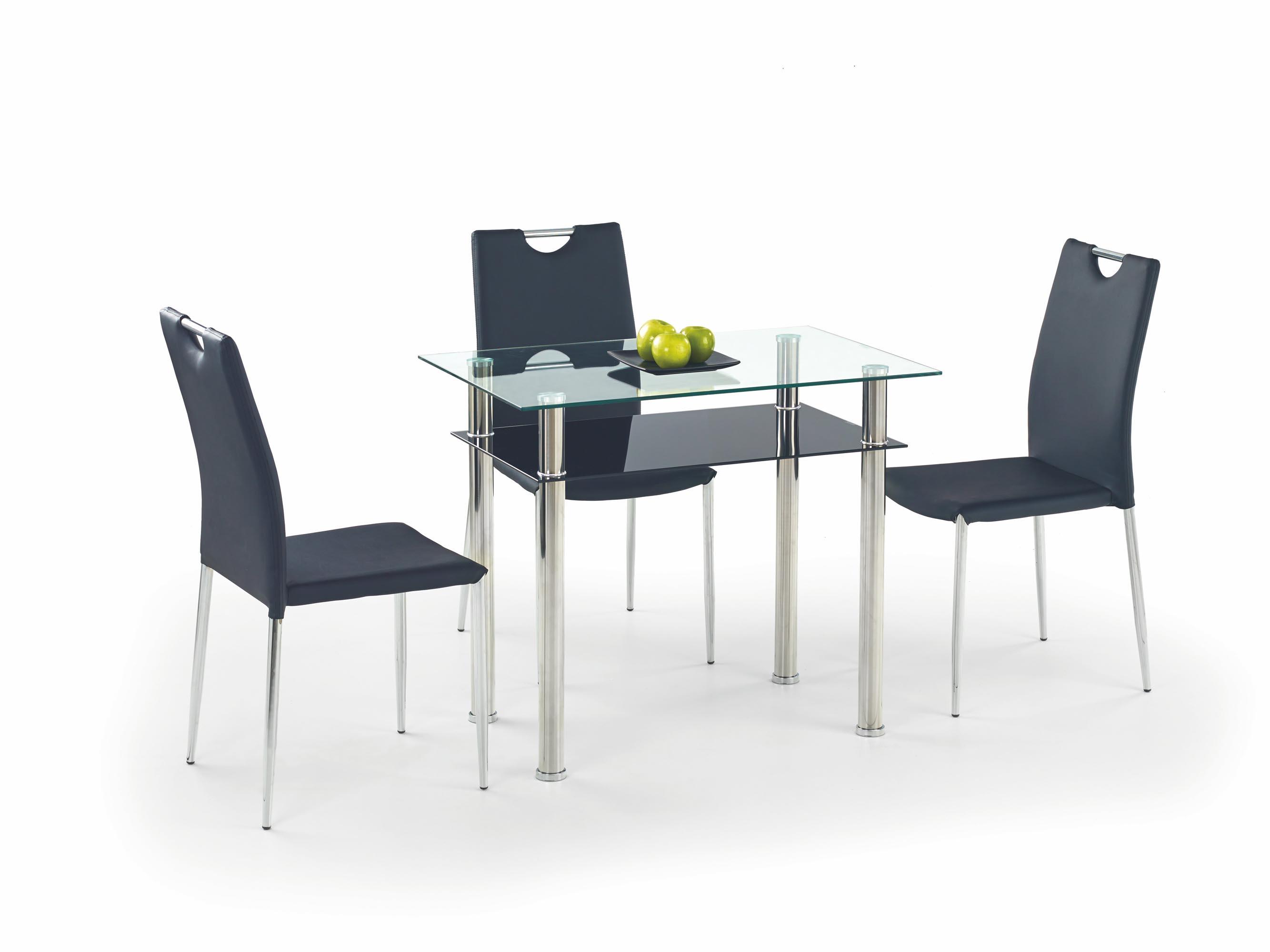 LESTER 90 stôl bezfarebný/čierny