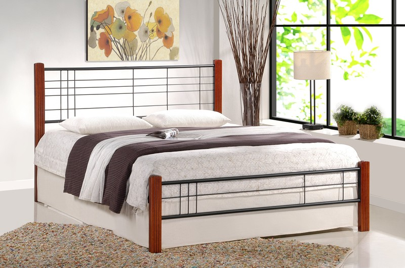 VIERA postel 160 cm čerešňa ant./čierna