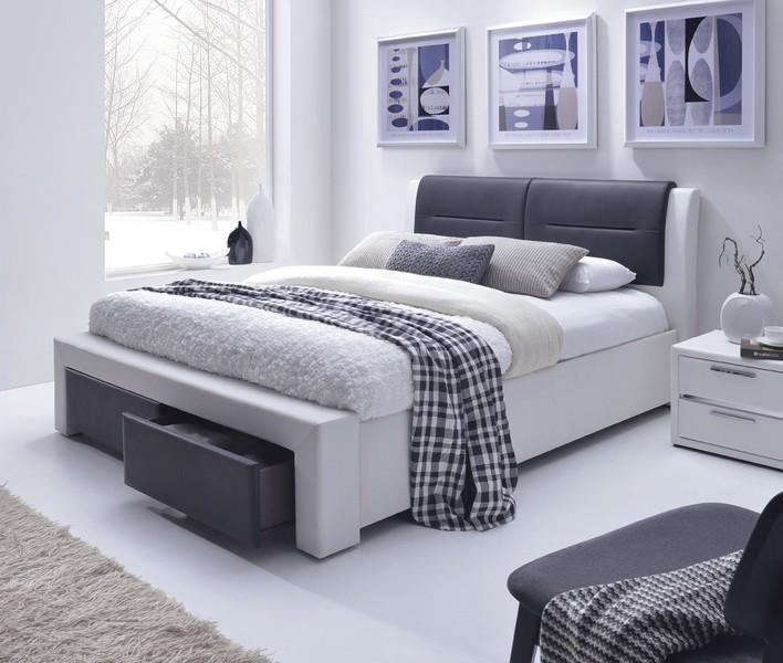CASSANDRA S postel čalúnená so zásuvkami čierno-biela