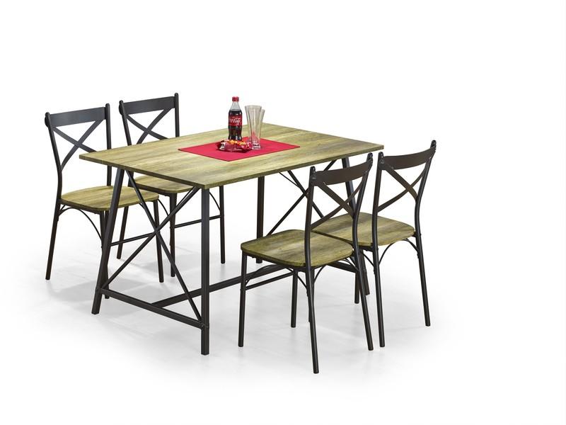 RELIANT zostava: stôl + 4 stoličky, farba: old vasion / coffe