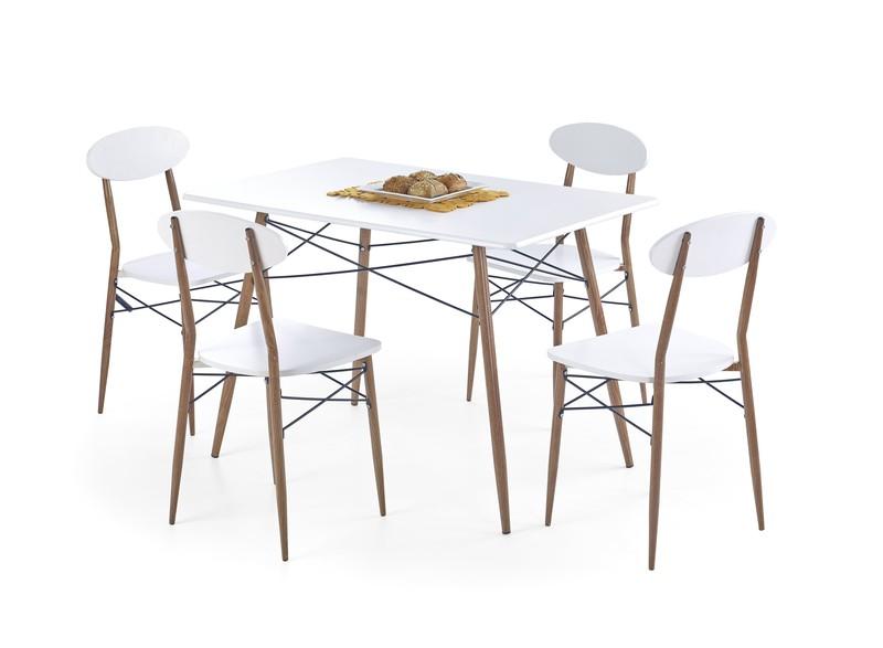 RECORD obdľžnik zostava: stôl + 4 stoličky biele